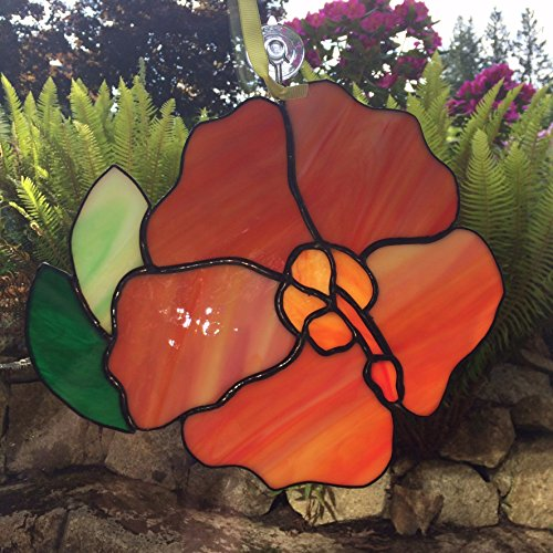 - Hibiscus Flower Stained Glass Window Hanging