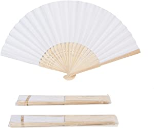 Sepwedd 50pcs White Paper Hand Fan White Bamboo Folding Fan Handheld Fans Paper Folded Fan for Wedding Party and Home Decoration