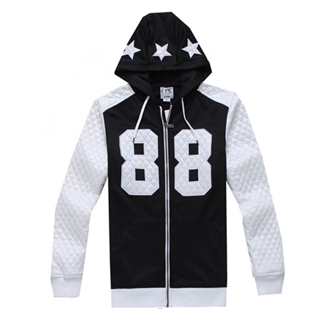 Madhero Men's 88 Lucky Number Full-zipper Fashion Hoodie (2XL, FBA Black)