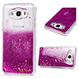 Galaxy J7 Case 2016, Clear Liquid Glitter Case Air-Cushion Drop Resistant Bling Shiny Sparkle Flowing Moving Hearts Shock Absorption PC Bumper Shell Protective Cover for Samsung Galaxy J7 - Hot Pink