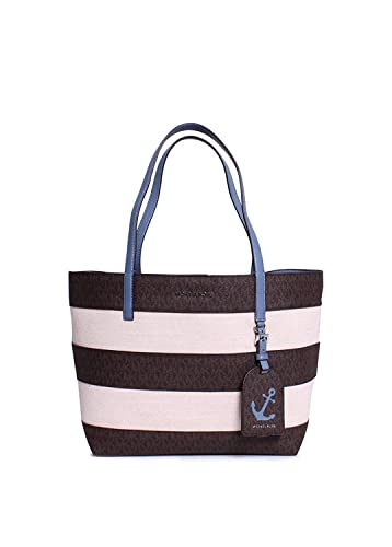 8935742d5523 MICHAEL Michael Kors Striped Large East West Tote, Brown/Denim: Handbags:  Amazon.com