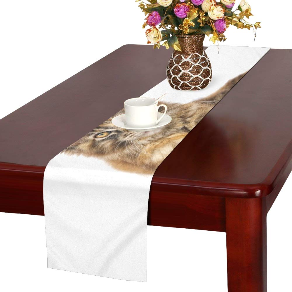 QYUESHANG Cat Animal Pet Maine Coon Mainecoon Table Runner, Kitchen Dining Table Runner 16 X 72 Inch for Dinner Parties, Events, Decor