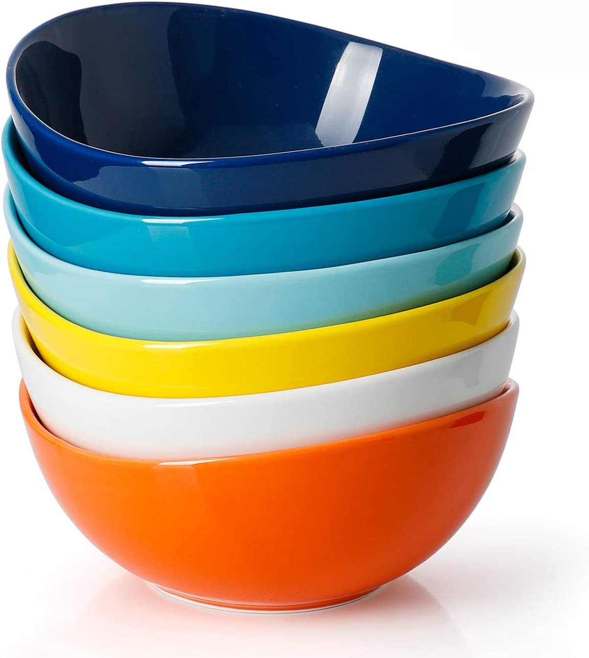 Sweese 102.002 Porcelain Bowls - 18 Ounce for Cereal, Salad, Dessert - Set of 6, Hot Assorted Colors