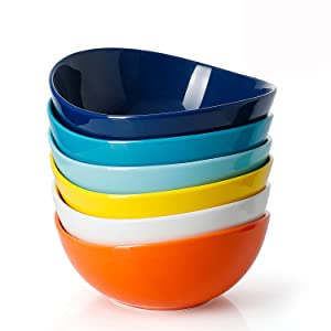 Sweese 1102 Porcelain Bowls - 18 Ounce for Cereal, Salad, Dessert - Set of 6, Hot Assorted Colors