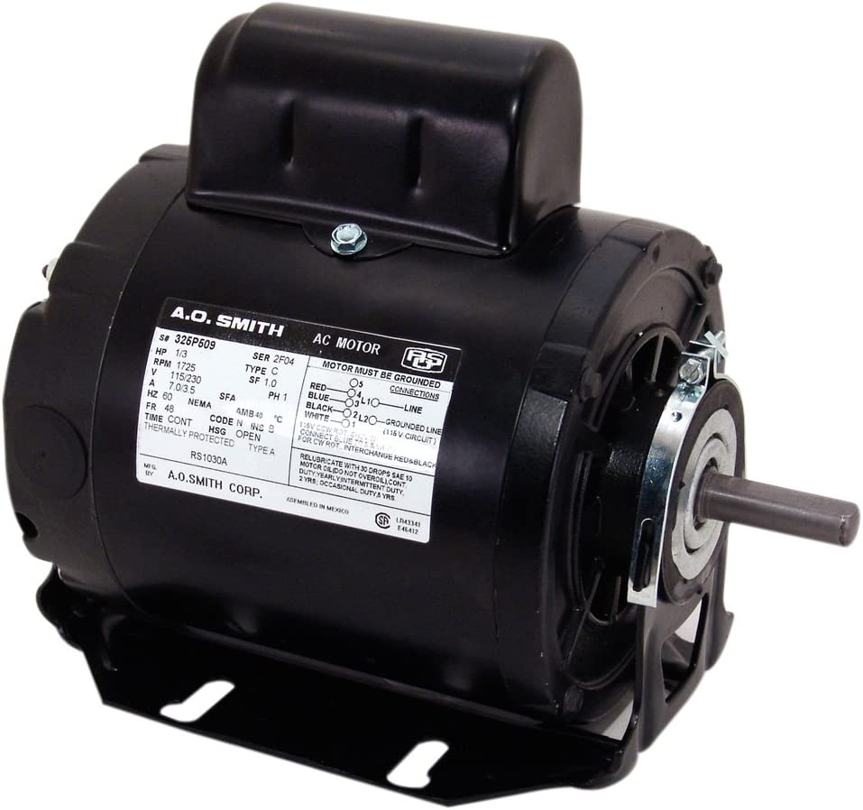 A.O. Smith RS1024A 1/4 HP, 1725 RPM, 115/230 Volts, 48 Frame, Open Enclosure, Sleeve Bearing Capacitor Start Motor