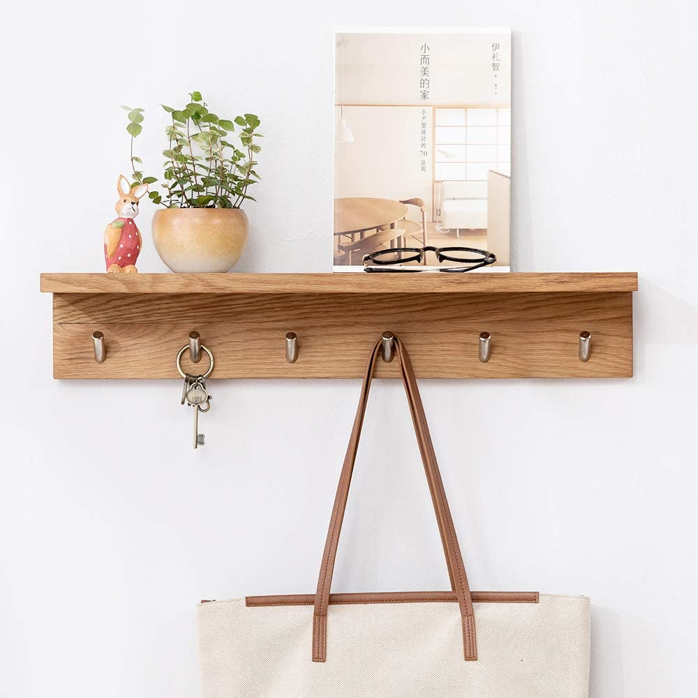 "INMAN HOME Rustic Wall Mounted Coat Rack Shelf Large Solid Oak Coat Hook Rack Entryway Shelf 28.5"" with 6 Hooks Bathroom Closet Kitchen Cupboard Organizer"