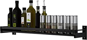 "TAGLINES Spice Rack Single-Layer Wall-Mounted Kitchen Spice Rack Wall Mount Organizer for Pantry Condiment OrganizerBathroom Shelf-Space Saving Wall Spice Shelf(5.91"" W 23.62"" L) Black"
