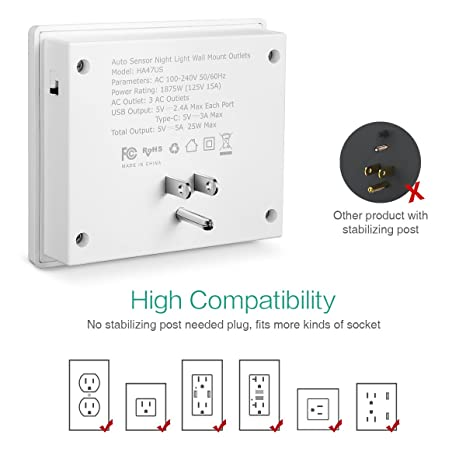 ORIA Wall Mount Charger with USB Type-C Port, Dual USB Ports & 3 AC