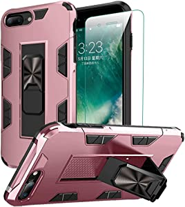 for iPhone 8 Plus Case iPhone 7 Plus Case with Screen Protector Dual Layer Soft Flexible TPU Hard Shell Military Grade Full-Body Rugged with Kickstand Car Mount Protective Cover Cases (Pink)