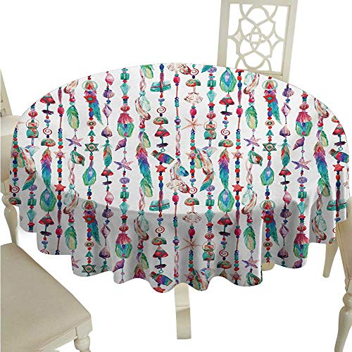 Willsd Round Tablecloth Feather Marine Accessory Chains Pendants Mineral Stones Shells Beads Watercolor Style Art Washable Tablecloth D50 Suitable for - Shells Polish Pendant Shell