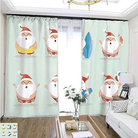 Colección de cortinas de moda de Navidad para chef Santa Claus W72 x L72, cortina de puerta corredera para habitación de invitados, cortinas de alta precisión para dormitorios, salones, cocinas, etc.: Amazon.es: