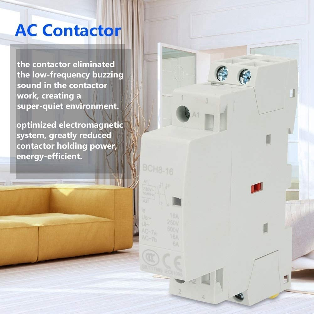 AC Contacteur-2P 16A 220V 230V 2NO 50 60HZ Rail Din Contacteur de s/écurit/é AC M/énager /à faible bruit