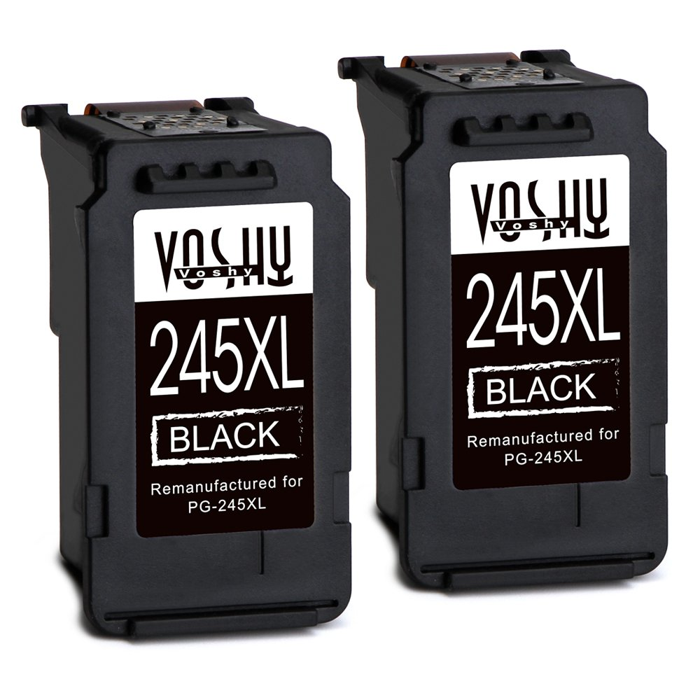 Voshy Remanufactured Canon PG-245 PG-245XL Ink Cartridges, High Yield Replacement for Canon Pixma MX492 MG3022 MG2520 MG2522 MG2920 IP2820 MX490 MG2922 MG3020 MG2420 TS3120 MG3029 MG2525, 2 Black