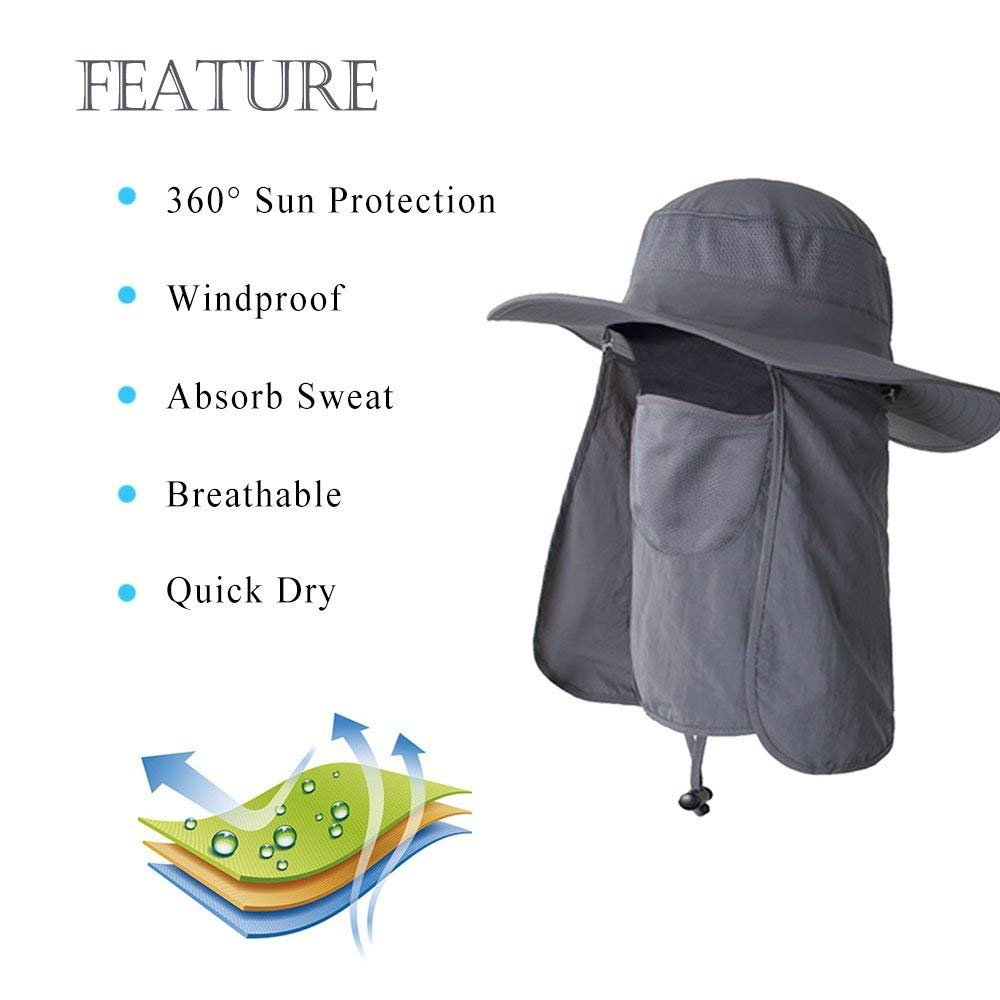 AYAMAYA Fishing Hats for Men/Women with Neck Flap & Face Mask, Wide Brim Breathable Sun Protection Hat Summer Outdoor 360° UV Protective Sun Visor Cap Boonie Hats Quick Drying for Travel Hiking by AYAMAYA (Image #2)