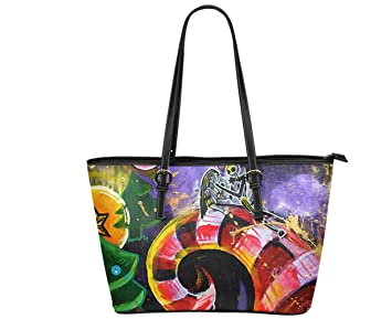 09f44f2df619 Jack and Sally Print Women's Leather Tote Shoulder Bag Big Capacity Work  Travel Handbag (14)