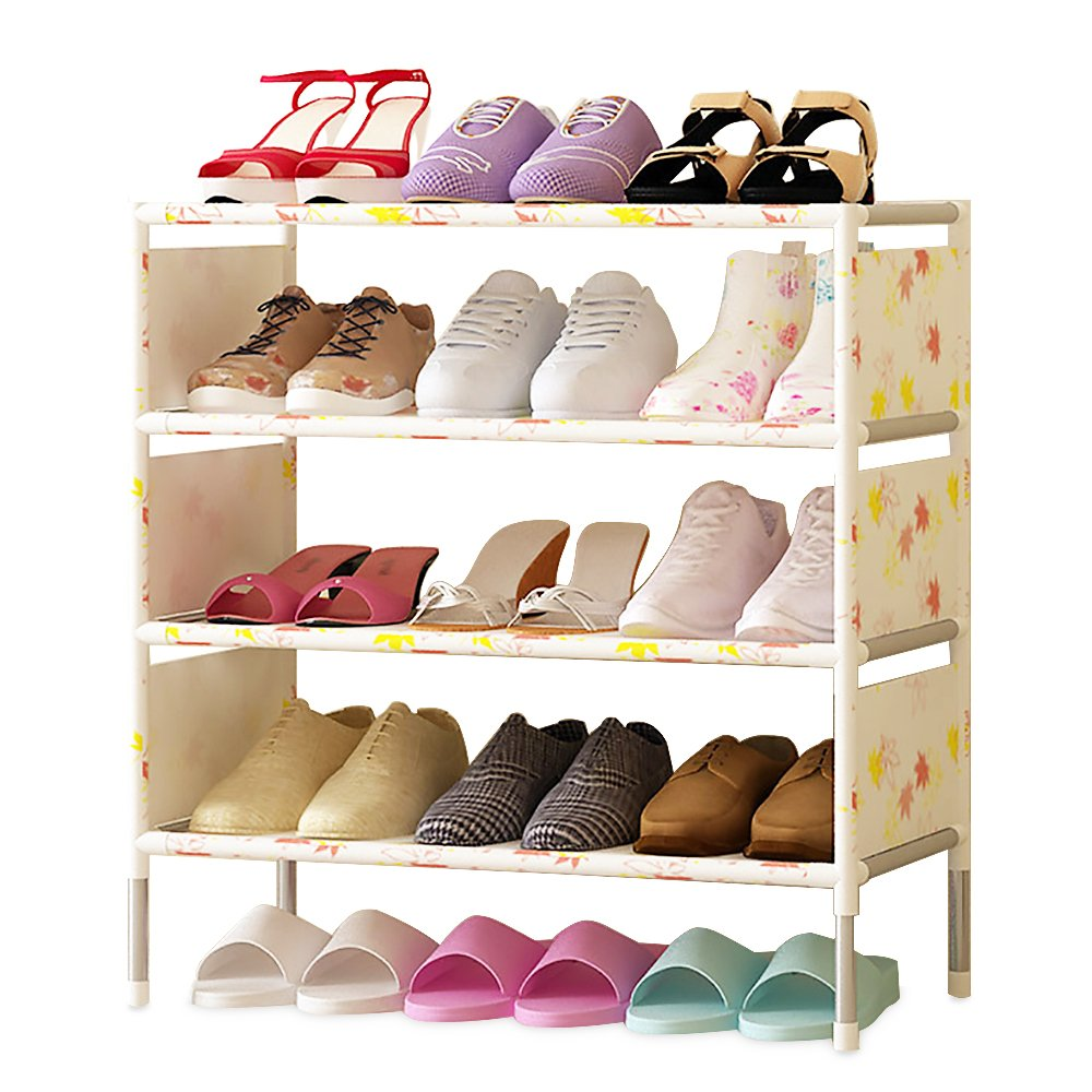 FKUO Shoes shelf Easy Assembled Non-woven 5 Layer Shoe Rack Shelf Storage Organizer Stand Holder Keep Room Neat Door
