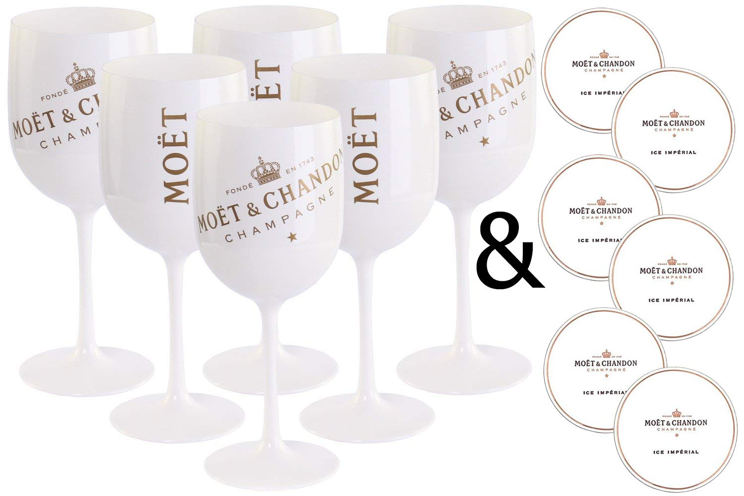 Veuve Clicquot Acrylic Flutes Cup Ice Champagne Imperial Pack of 4 Pink Orange