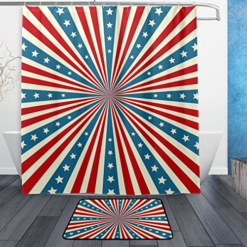 All Weather Damask Rug (Vintage Distressed American Flag Waterproof Polyester Bathroom Shower Curtain Set for Home Decor with Hooks,66W X 72L Inches)