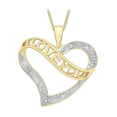 Carissima gold 9ct yellow gold diamond i love you heart pendant carissima gold 9ct yellow gold diamond i love you heart pendant on chain necklace aloadofball Choice Image