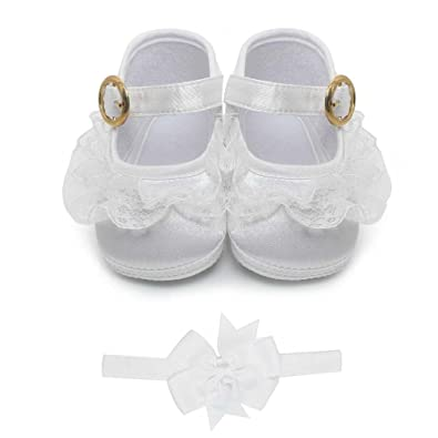 74d3abba45073 Delebao Baby Girl Infant Buckle Christening Satin Baptism Shoes Bootie  Slippers