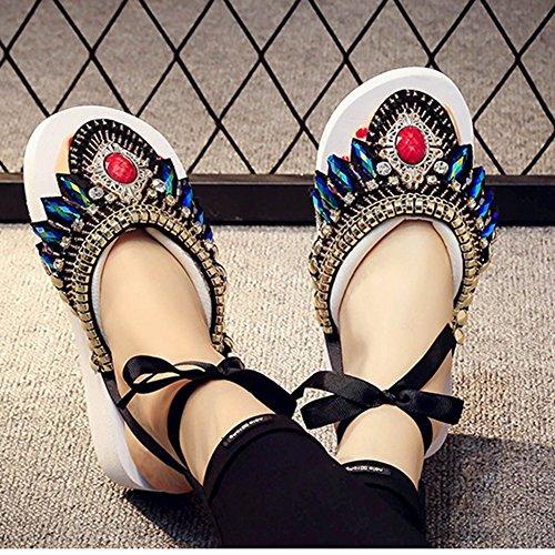 Slippers Gemstones Vintage Stitched JULY Flops White Hand T Flip Women's Muffins Folk Bohemian H6RwqTx