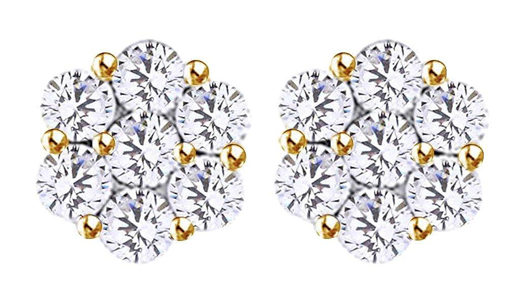 14 Karat (585) GelbGold Ohrstecker WeißGold 14 Karat (585) massiv 1 Karat Diamant Weiß
