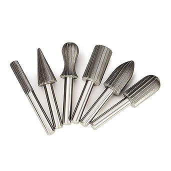 "6pcs 1//4/"" High Speed Steel Carbide cutter Rotary Burr Set Engraving Bit Tool 6mm"