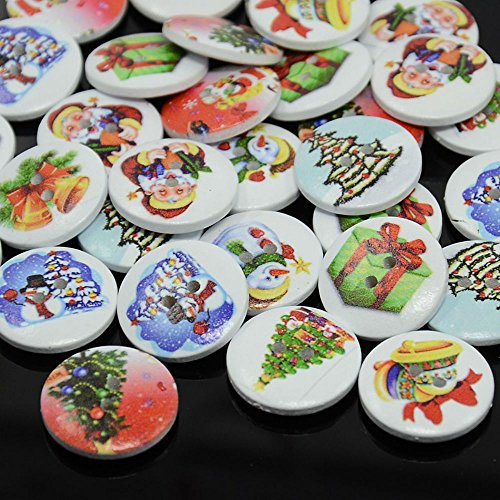 INCREWAY Flat Round Dyed Buttons 2-Hole Santa Claus Printed Sewing Buttons for Costume Design and DIY Craft, Mixed Color, 15x4mm, Hole: 1.5mm (Colors Claus Santa)