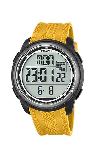 Calypso - Reloj Digital Unisex con LCD Pantalla Digital Dial y Correa de plástico de Color Amarillo k5704/1: Amazon.es: Relojes