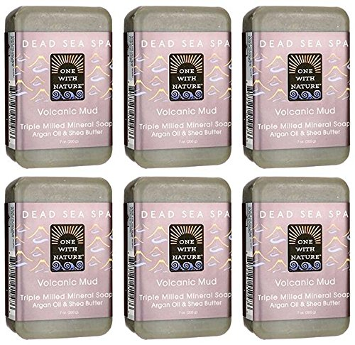 One With Nature Dead Sea Spa Volcanic Mud Mineral Soap 7oz (Pack of 6) With Dead Sea Minerals, Argan Oil and Shea ()