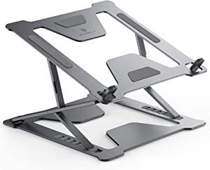 """Adjustable Laptop Stand for Desk, Portable Foldable Laptop Riser with Heat-Vent to Elevate Laptop, 13 Lbs Heavy Duty Laptop Holder for MacBook Pro Air, Dell, Lenovo More 11-17.3"""" Laptops(Gray)"""