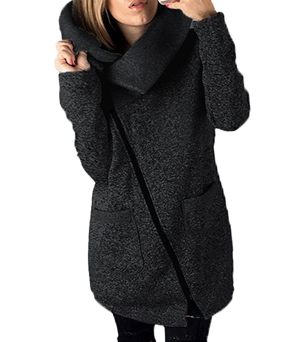 LANOMI Womens Casual Jacket Coat Unique Long Zipper Autumn Winter Sweatshirt Outwear with Pockets 8 10 12 14 16 18 20 22 24 26