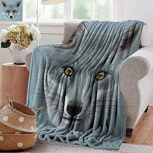 XavieraDoherty Wearable Blanket,Animal,Artistic Grey Fox Portrait Fluffy Forest Creature Mammal Wildlife Style Illustration,Light Blue,300GSM, Super Soft and Warm, Durable 50
