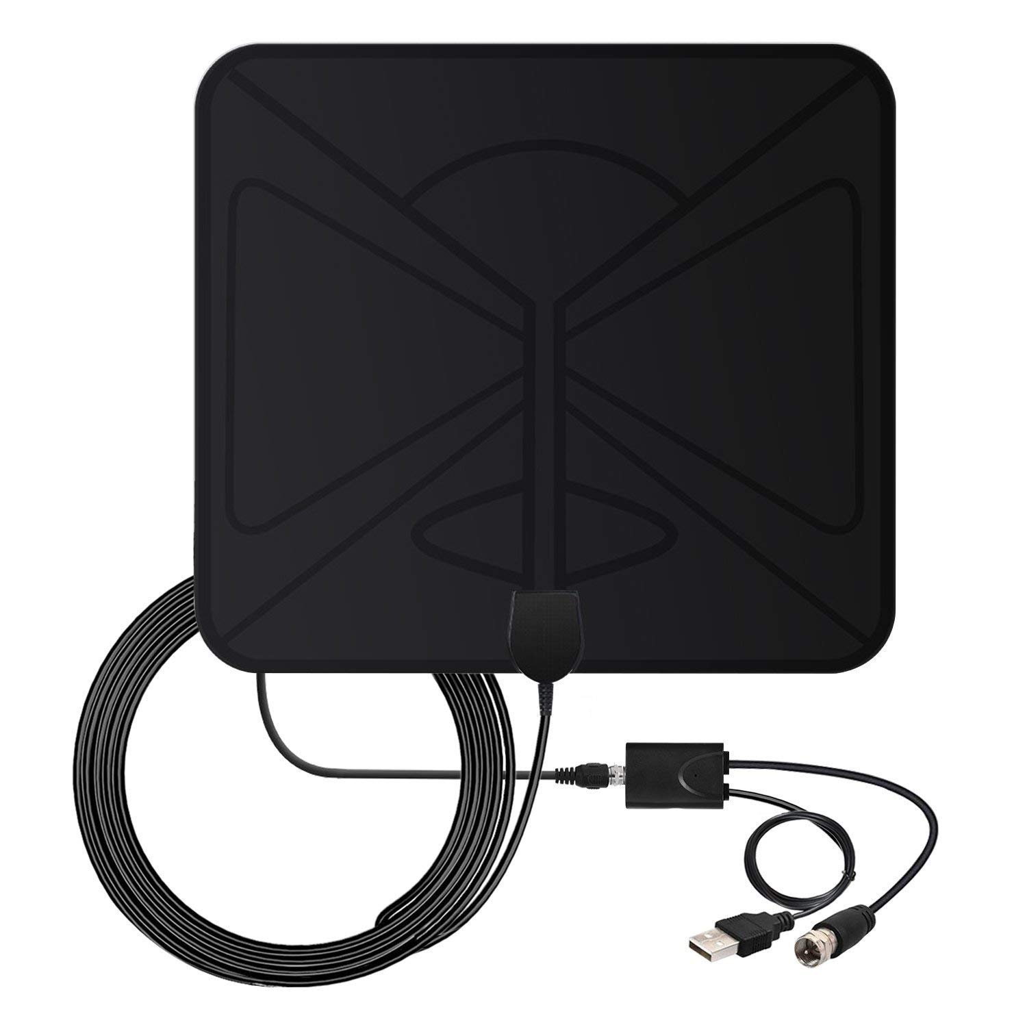 HDTV Antenna, Vinpie 50 Miles Indoor Amplified Digital Smart TV Antenna with Detachable Amplifier Signal Booster, USB Power and 10FT High Performance Coaxial Cable V-1129-2