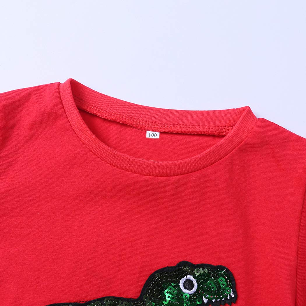 Mary ye Boys Cotton Short Sleeve T-Shirt Kids Sequins T Rex Dinosaur Tees Tops