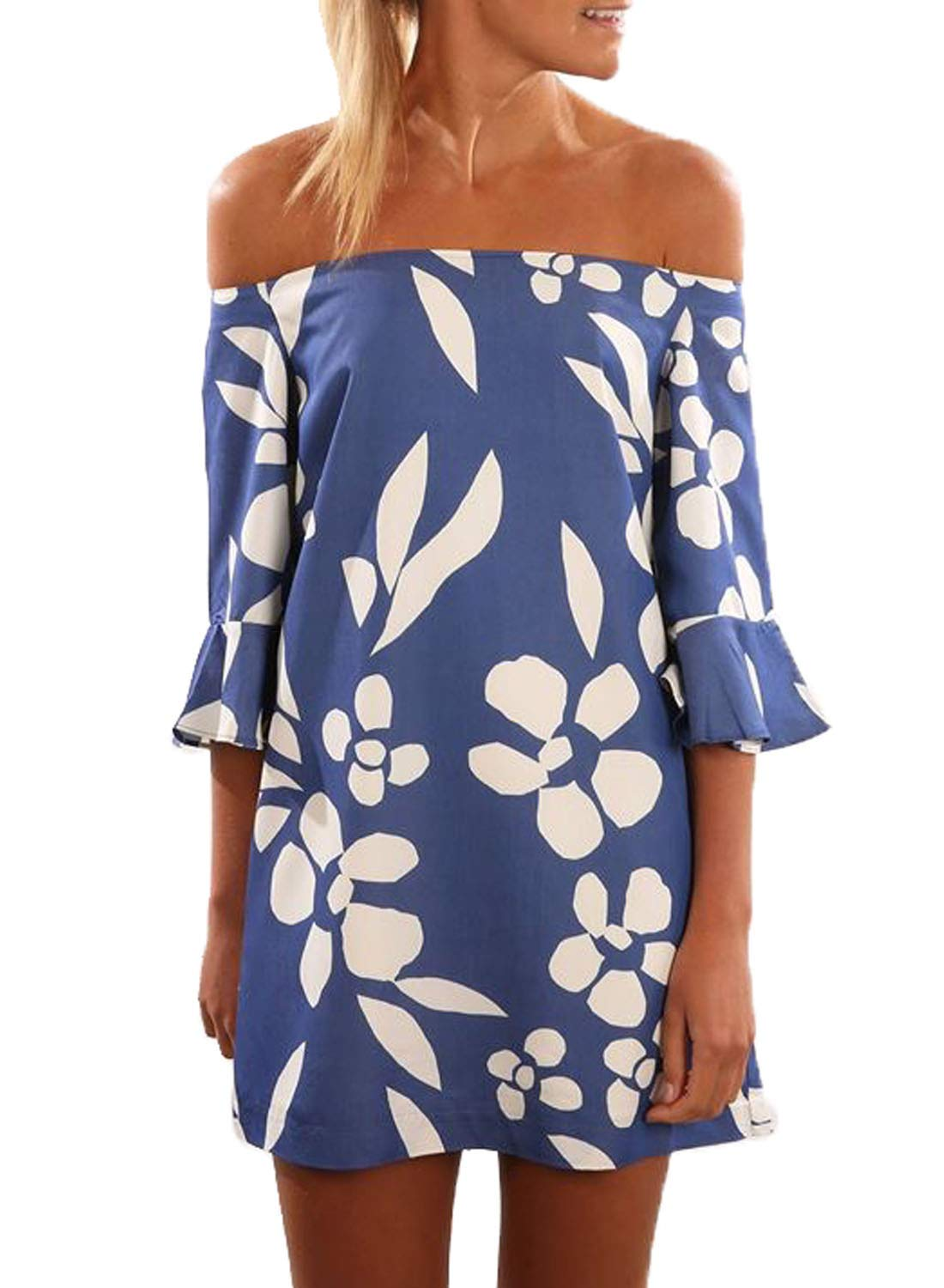 Asvivid Womens Casual Off The Shoulder 3 4 Flare Sleeve Boho Floral Loose Beach Party Mini Short Dress L Blue