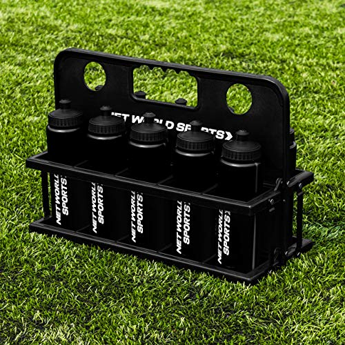 Net World Sports 10 Water Bottles & Carrier [750ml] - BPA Free Plastic Available (Black)
