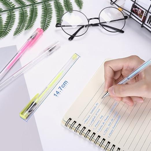 YOHOOLYO 60pcs Bolígrafos de Gel Plumas de Tinta Gel Brillante y Multicolor para Pintura Libro de Colorear o Tomar Notas: Amazon.es: Oficina y papelería