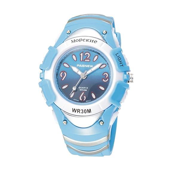 Reloj digital para niños niño moda siete luces resistente al agua reloj-A: Amazon.es: Relojes