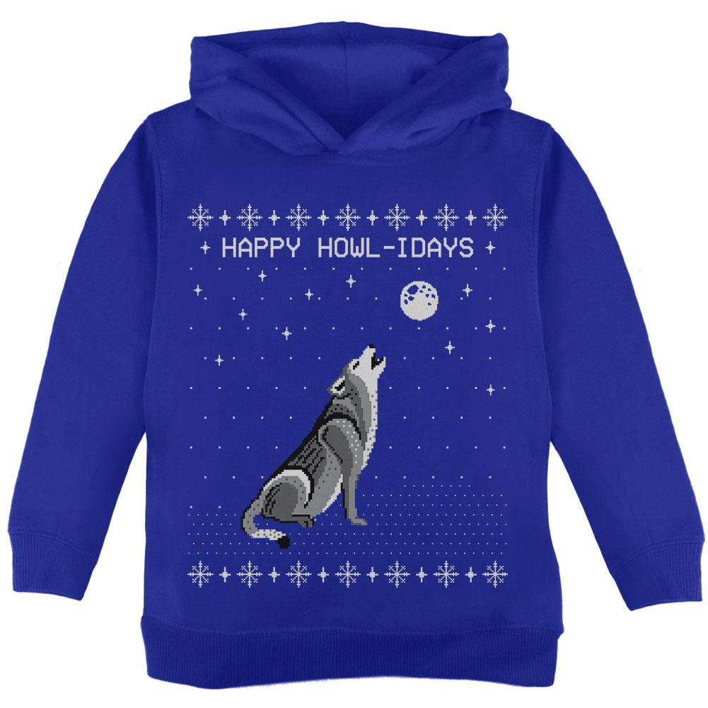 Happy Howl-idays Holidays Wolf Ugly Christmas Sweater Toddler Hoodie
