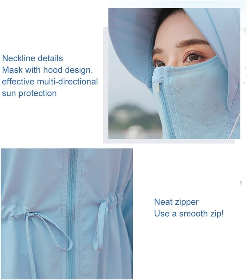 Koowaa Outdoor Breathable UPF50 Sunscreen Top Women Sun Protection Jacket Sun Protection Clothing Breathable Sunscreen Jacket Windproof Jacket Outdoor Bicycle Sports