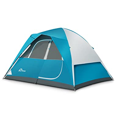 ALPRANG Backpacking Tent – Lightweight Mountaineering Tent Material, Waterproof, High Visibility Camping Tent with Large Vents and Storage Pockets (Blue+ White) (6 Person)