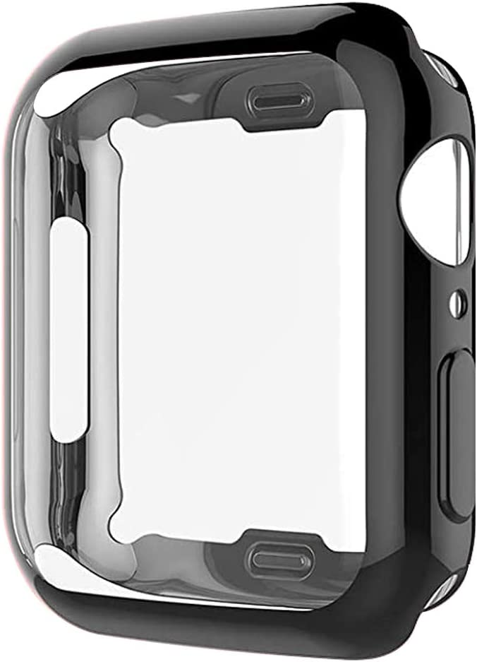 Zuslab Compatible for Apple Watch Series 6 SE Series 4 5 [44mm] Case, Built-in TPU Screen Protector Around Full Body Protective Ultra Thin Bumper Flexible Lightweight Cover-Black