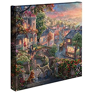 Thomas Kinkade – Gallery Wrapped Canvas , Lady and the Tramp , 14″ x 14″ , 61338