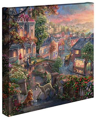 (Thomas Kinkade - Gallery Wrapped Canvas , Lady and the Tramp , 14