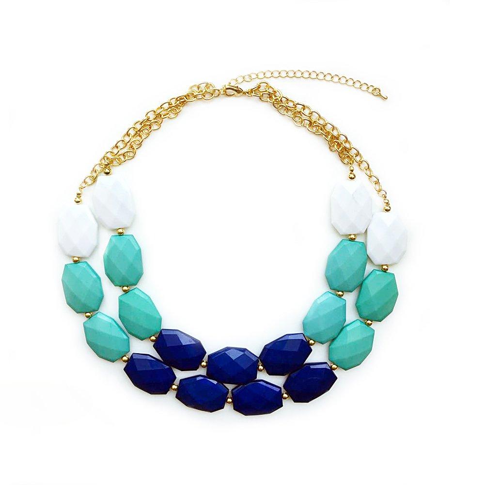 TrinketSea Multi Strand Block Statement Necklaces Beautiful Block Bib Blue Green Golden Chain