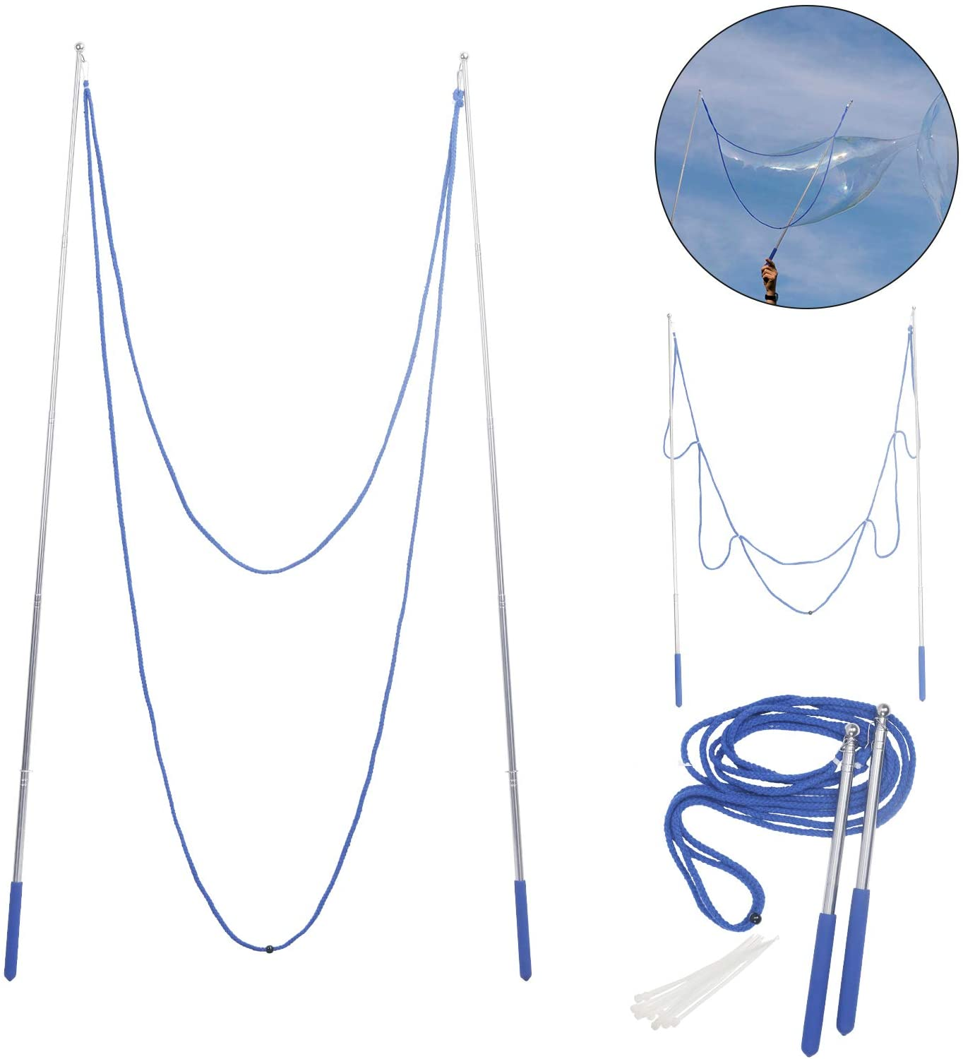 Bubble Wand Rope Giant Stainless Steel Telescopic Design For Kids Adult Toys