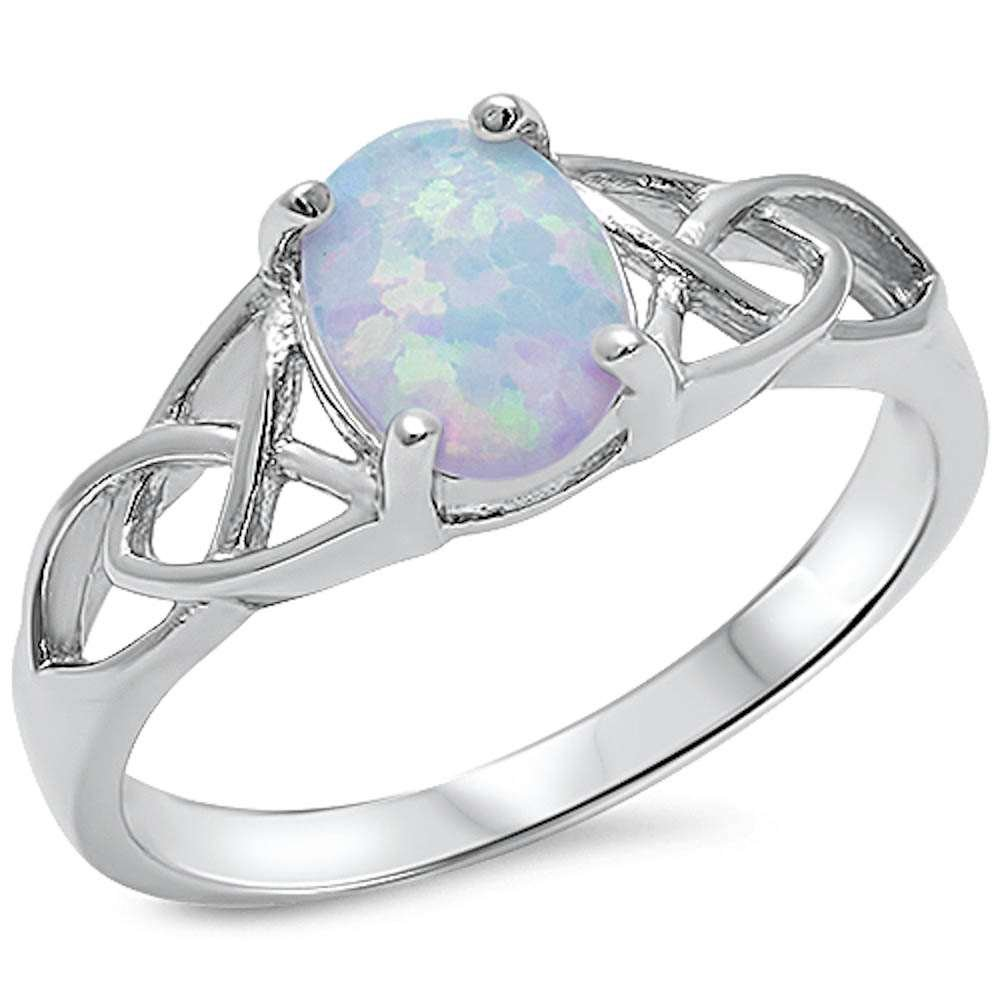 Oxford Diamond Co Oval Lab Created White Opal Celtic Design Band .925 Sterling Silver Ring Sizes 7 by Oxford Diamond Co (Image #2)
