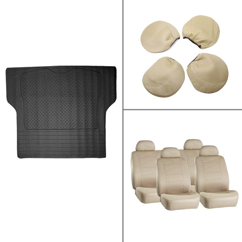 Scitoo 9-PCS Trunk Liner Floor Mat Beige Car Seat Covers for Heavy Duty Vans Trucks