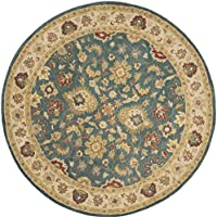 Safavieh Antiquities Collection AT15A Handmade Traditional Oriental Blue and Beige Wool Round Area Rug (36 Diameter)